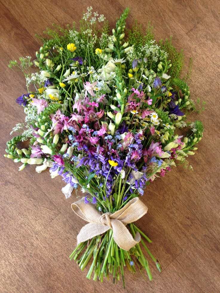 An informal collection of wild flowers, for a funeral.