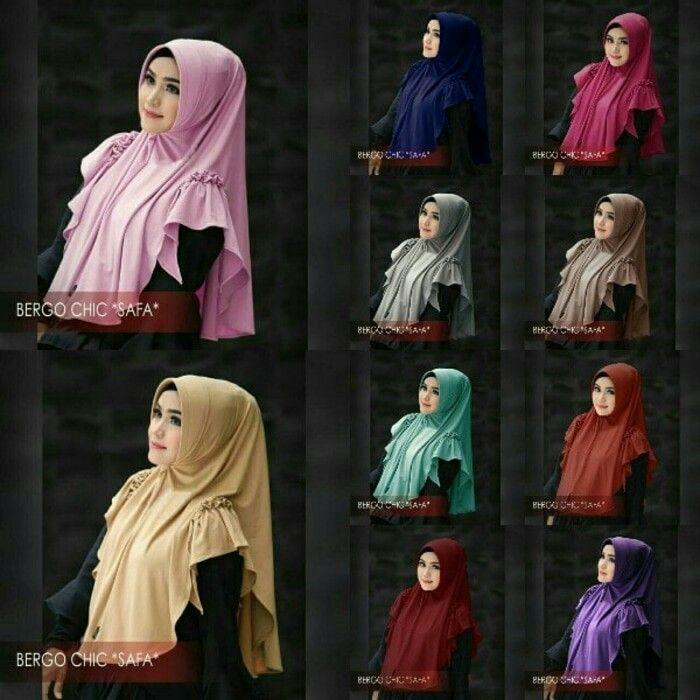Jilbab instan Bergo Chic Safa pad antem, Jilbab instant pad antem (bentuk pet kecil memanjang) yang sedang trend saat ini, dilengkapi variasi rempel dan rumbai di bagian pundak