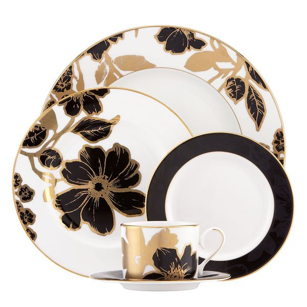 Dine in elegant luxury with the Lenox Minstrel five piece dinnerware place setting. The modern floral motif is painted with generous strokes of contrasting black and gold that make a bold statement co
