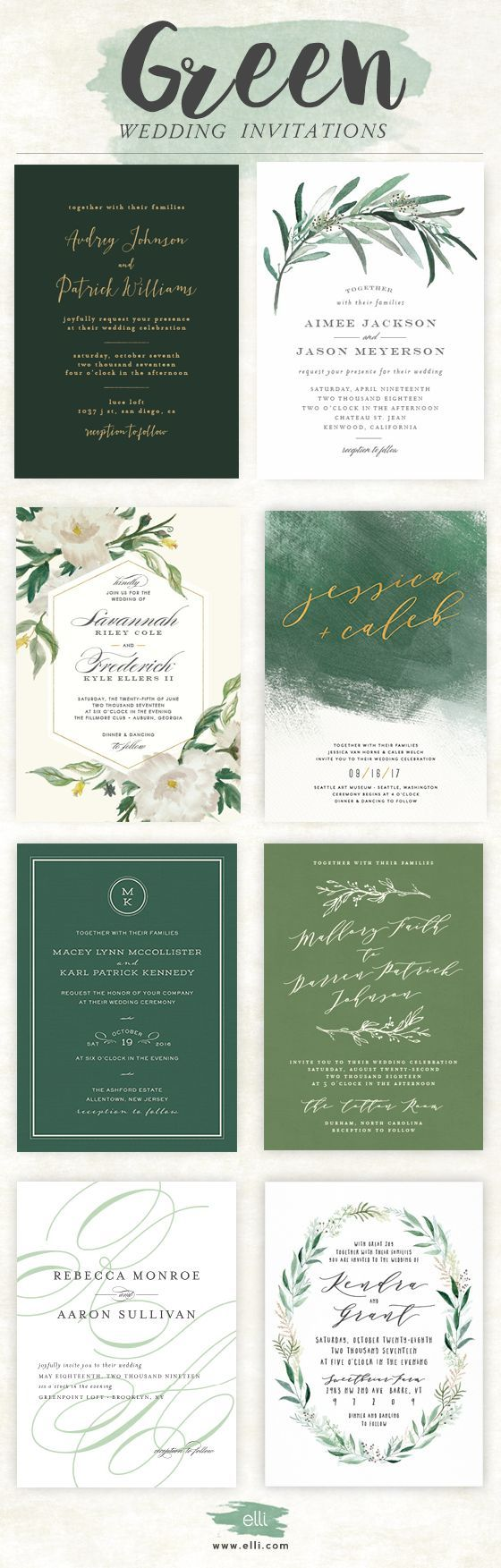 sample spanish wedding invitations%0A Gorgeous selection of green wedding invitations from Elli com