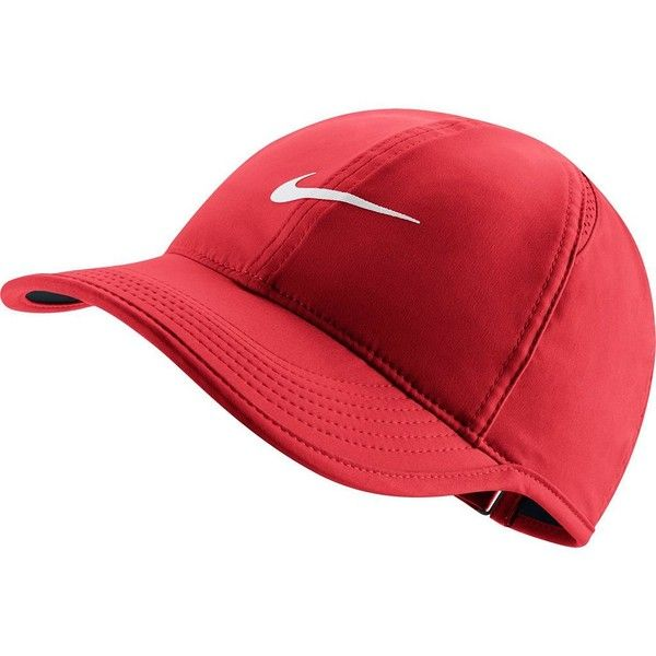 Women's Nike Featherlight Baseball Hat ($24) ❤ liked on Polyvore featuring accessories, hats, red, adjustable ball caps, baseball caps hats, red baseball cap, nike hat and red brim hat