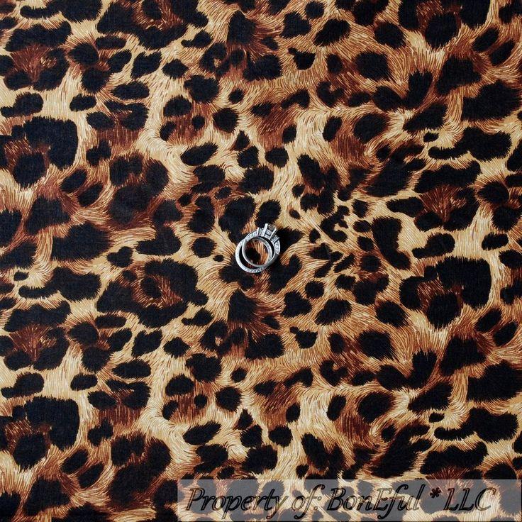 BonEful Fabric Cotton Quilt Brown Black Skin Leopard Jungle Cheetah Hair L SCRAP #Unbranded