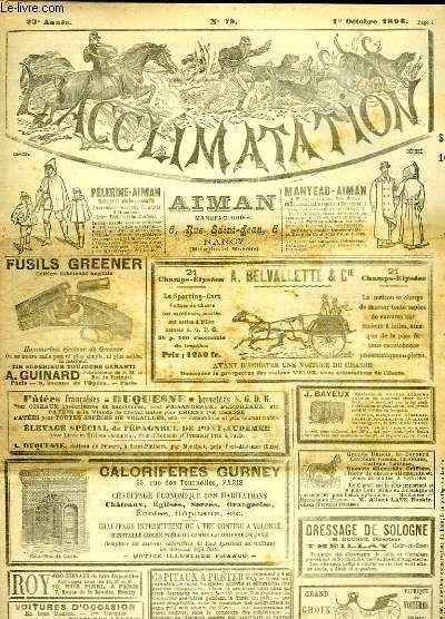 L'acclimatation, Journal Des Eleveurs, N°79 - 23e Année : Coq De Combat de DEYROLLE EMILE