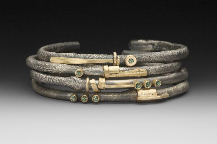 Roger RimelCuffs Bracelets Pulseiras, Green Sapphire, Stacked Bracelets, Fabulous Jewelry, Artists Artisan Jewelry, Silver 14K, Art Jewelry, 4Bracelets652Asmjpg 1080720, Rogers Rimel