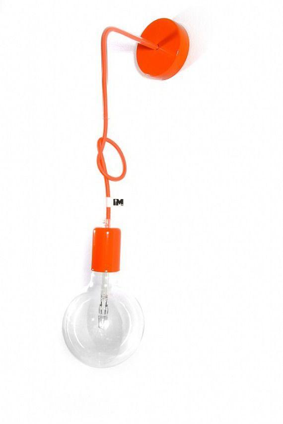 Lampa loft nowoczesny kinkiet kolorowe kable w oplocie pomarańczowym