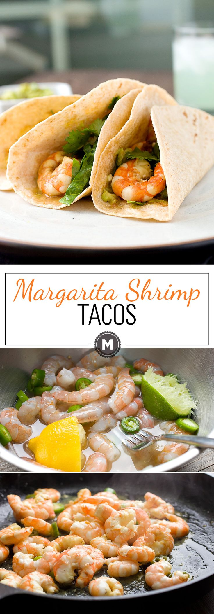 Margarita Shrimp Tacos: Tacos don't have to be heavy! These citrus and tequila marinaded shrimp are light and zesty and perfect for a fresh Tex-Mex dinner. Don't skimp on the guacamole! | macheesmo.com