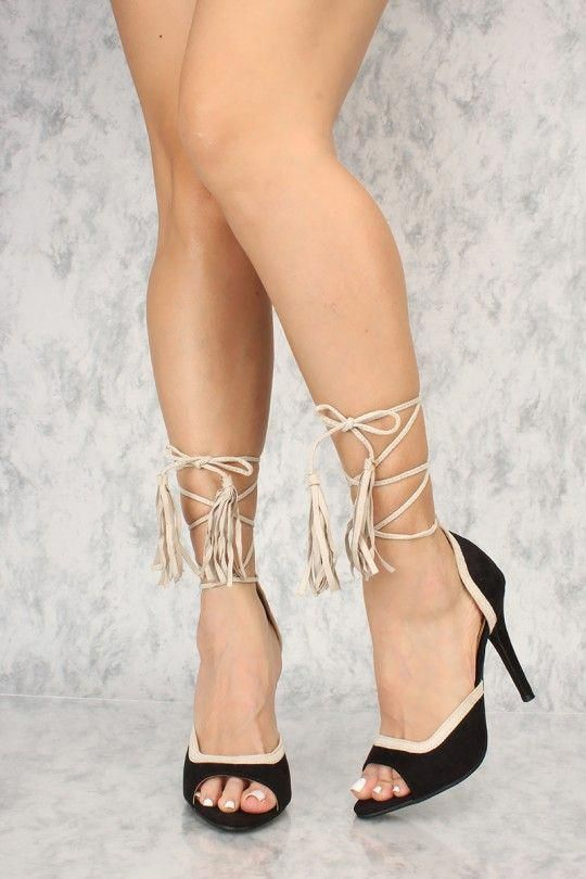 f5abe974d45f Sexy BlackTwo Tone Lace Up Open Toe Single Sole High Heels  Shoeshighheels
