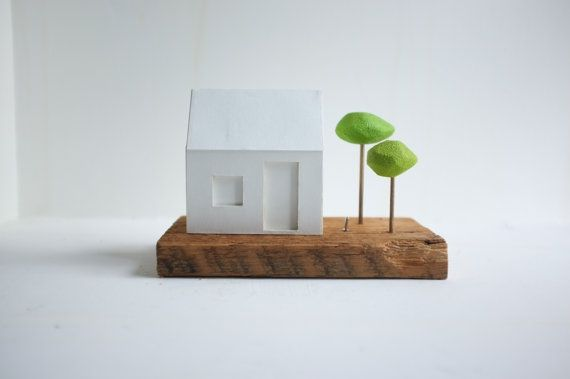 Miniature glowing house with little green trees by 2of2 on Etsy, $51.50