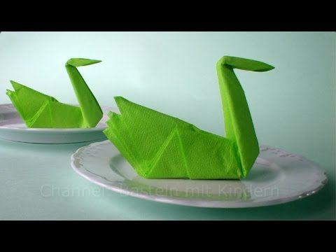 Servietten falten Schwan: Origami Tischdeko Basteln mit Papier-Servietten - DIY Deko Hochzeit - YouTube