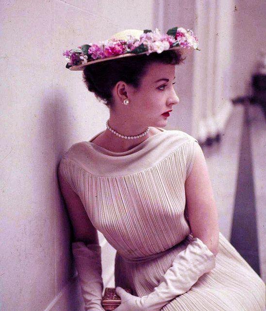 Model wearing a Spring hat, photo by Nina Leen, Washington D.C., 1952