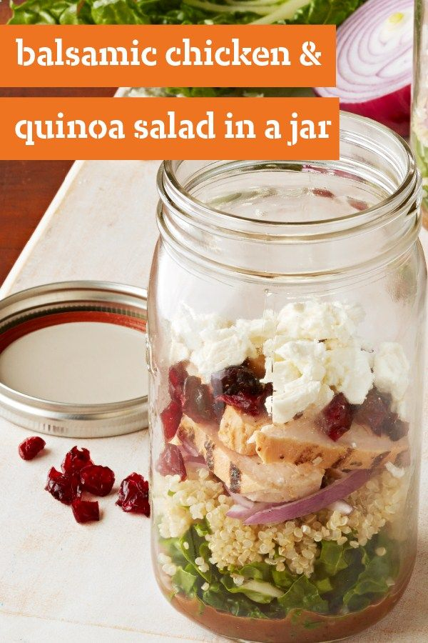 Balsamic Chicken and Quinoa Salad in a Jar – Shake up your boring lunch routine with this recipe for salad in a jar. Our Balsamic Chicken and Quinoa Salad in a Jar is a splendid, shaken salad dish that's ready in just 15 minutes.
