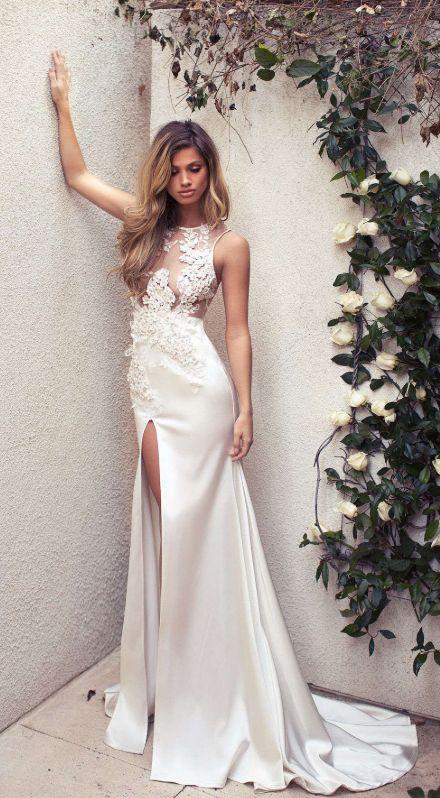 Elegante abito lungo a sirena avorio formale
