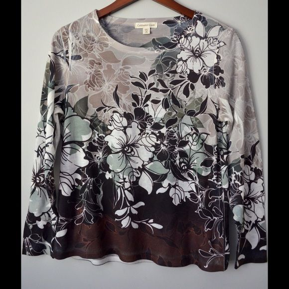 """Coldwater Creek Casual Top Coldwater Creek Casual Top M Floral Fade Multi Color  Listing Details  Made in USA  Material Polyester  Care: Machine wash cold & tumble dry low  Bust / Chest 39""""  Center Back Length 24"""" Coldwater Creek Tops"""