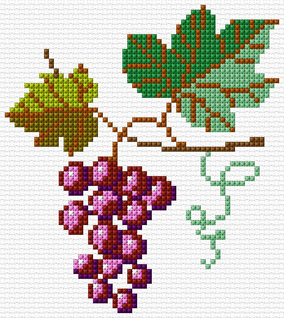 FREE cross stitch chart, grapes