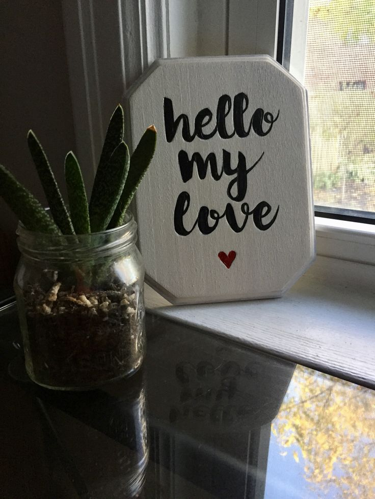 Hello my love   #woodsign #woodburning #paintedsign #plaque