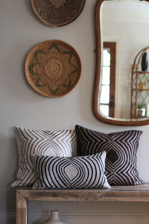 Metallic beige & brown handprinted organic hemp by  Very peaceful and homey
