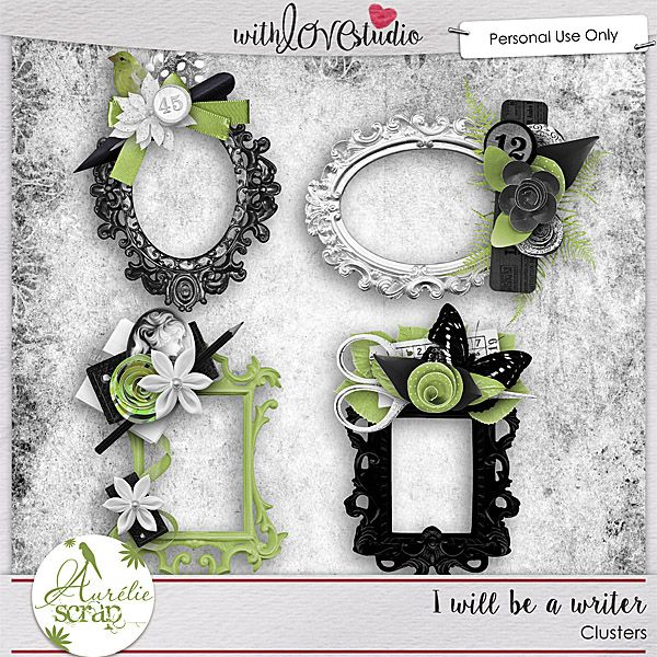 I will be a writer Clusters from Aurelie Scraps.  Lovely digital scrapbooking kit perfect to document your love for writing and reading books.