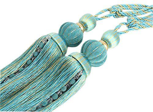Ayygift 1 Pair Pumpkin Tassels Curtain Tiebacks Curtain Buckle Holdbacks Curtain Tie Accessories Blue -- BEST VALUE BUY on Amazon