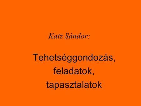 Katz Sándor: Tehetséggondozás, feladatok, tapasztalatok.