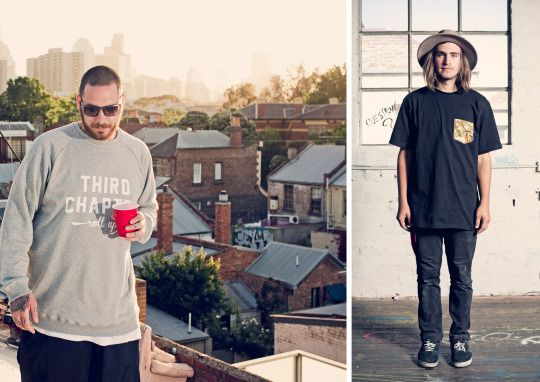 """Third Chapter's Dusk Till Dawn Collection, Featuring Our """"Roll Up Crewneck & 3C Pocket T-Shirt"""""""