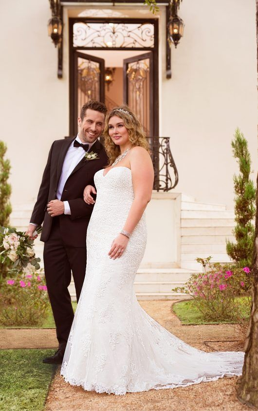 ... Plus Size Lace over Satin Fit and Flare Wedding Dress by Stella York