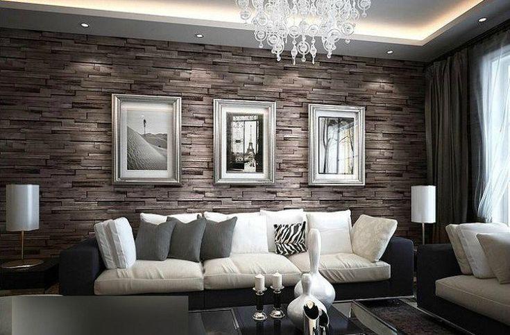 papier peint trompe l'œil imitation tuiles de parement en marron et gris dans le salon contemporain