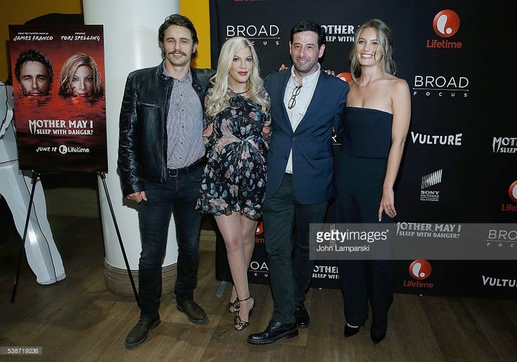 James Franco, Tori Spelling ,Rob Sharenow and Leila George attend 'Mother, May I Sleep With Danger?' New York screening at Crosby Street Theater on June 7, 2016 in New York City.  (Photo by John Lamparski/WireImage)