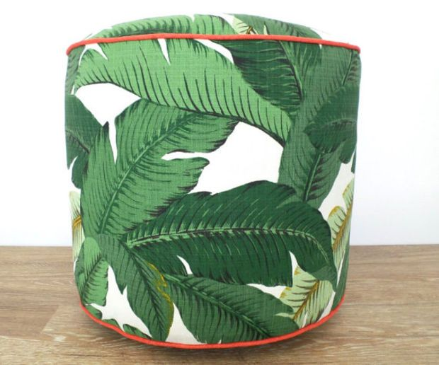 Green pouf ottoman banana leaf, outdoor pouf swaying palms, outdoor seating beach house decor, tropical outdoor ottoman regency decor