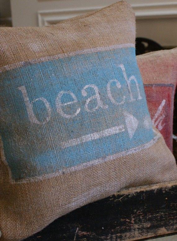 burlap beach pillow