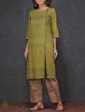 Olive Boat Neck Mangalgiri Cotton Kurta by Jaypore