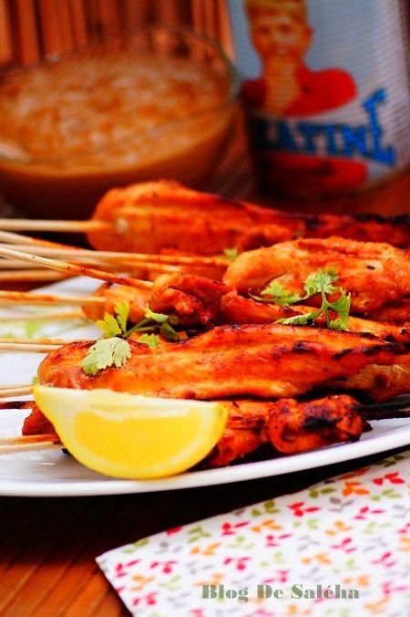 brochettes de poulet à  la sauce satay.  #poulet #cacahuètes