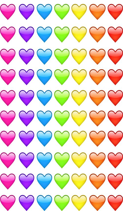 Emoji hearts pink violet blue green yellow orange red | We Heart ...