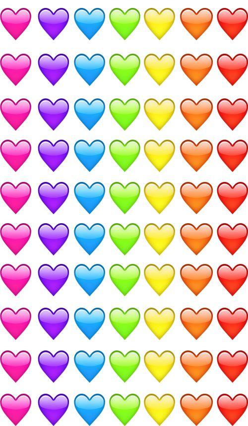 Emoji hearts pink violet blue green yellow orange red | We Heart ...