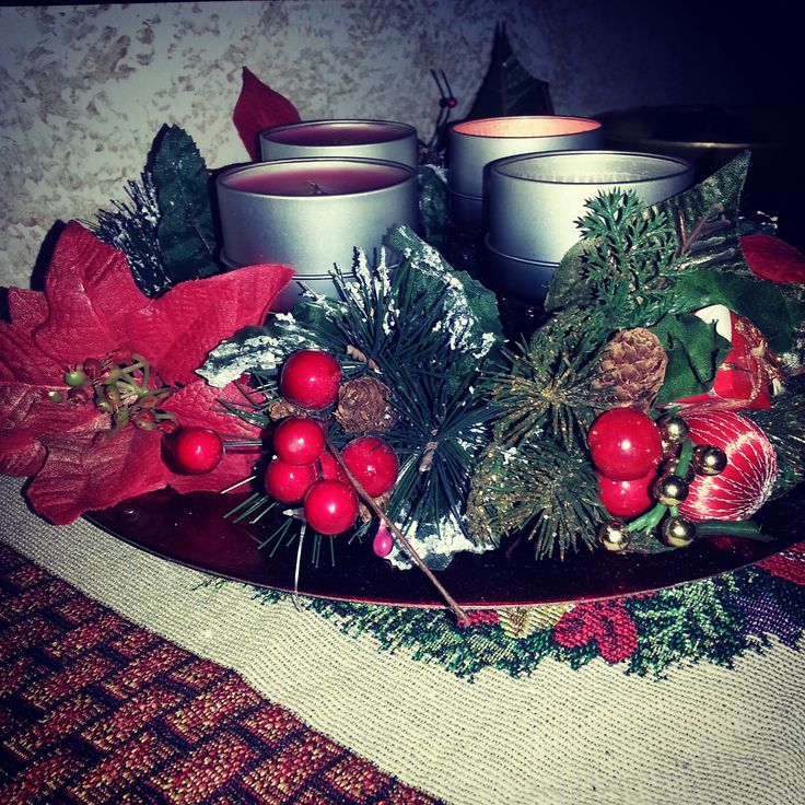 #christmasdecoration #christmas #candles #centerpiece