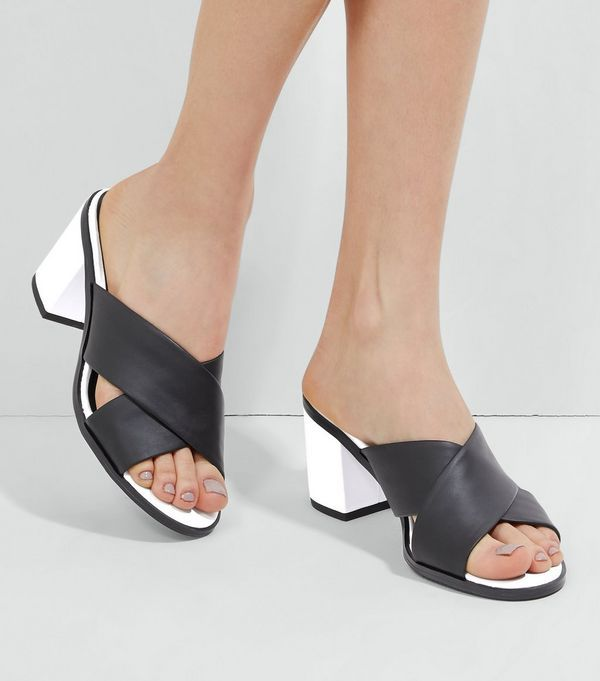 Black Contrast Heeled Mules | New Look