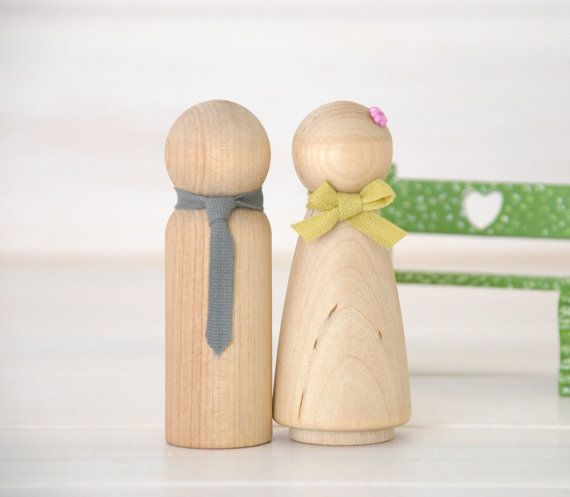 8 Wooden Peg Dolls - Unfinished Wooden People - Husband & Wife wooden dolls in a Muslin bag - Set of 8  - DIY Wood Crafts