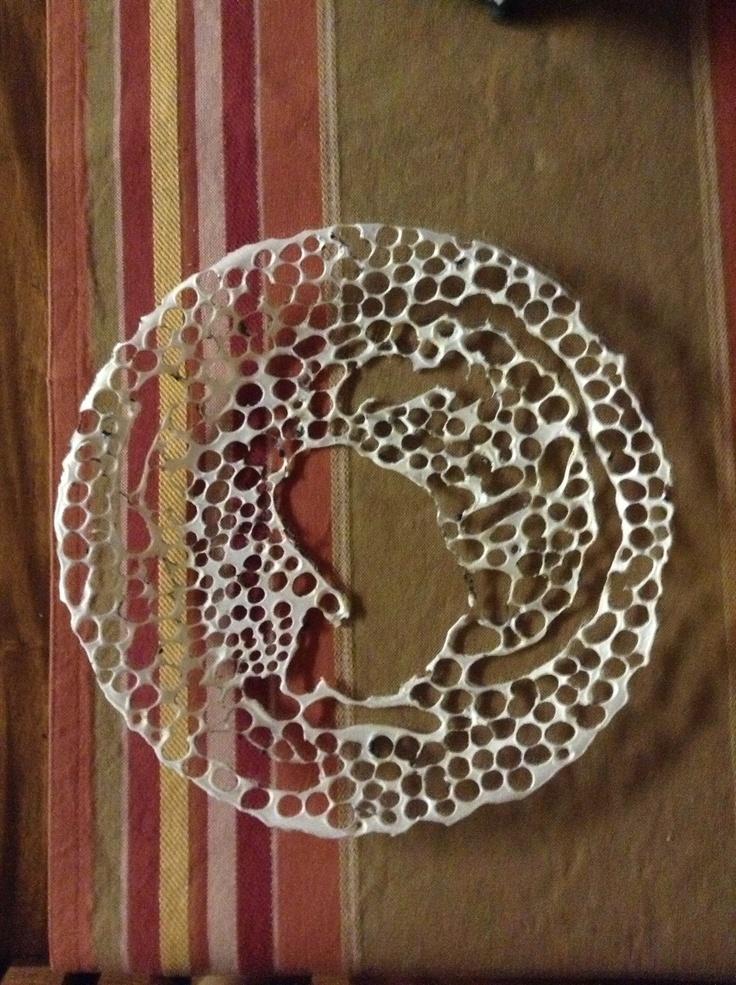 Styrofoam plate + fire stick = Art.