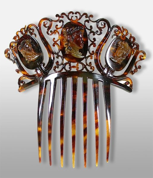 19th Century Tortoise shell carved cameos hair comb
