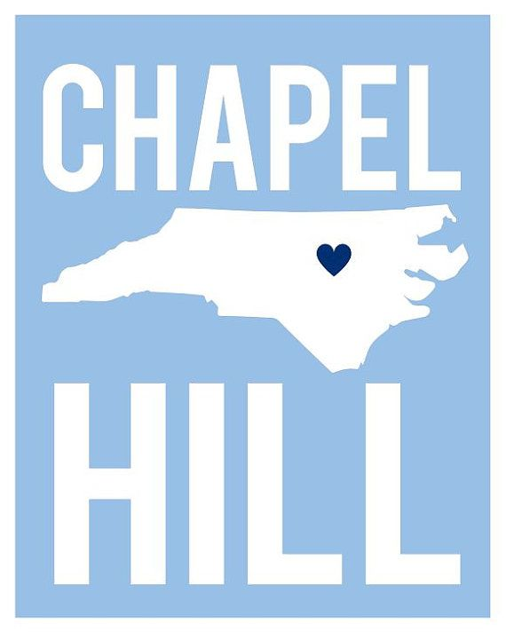North Carolina Art Print in UNC Colors by cr2f on Etsy, $18.00