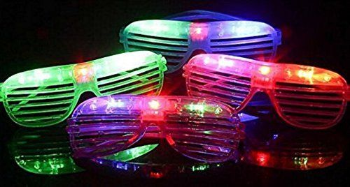 12 Piece High Quality Slotted & Shutter Shades Light Up Unisex Flashing Glasses For Adults & Children (5 Assorted Colors: White, Purple, Green, Blue, & Pink)- With Push On/Off Button for All Occasions