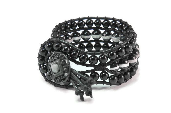 Boho Mystic * Agate & Onyx Black Leather Strand Rock Style Wrap Bracelet