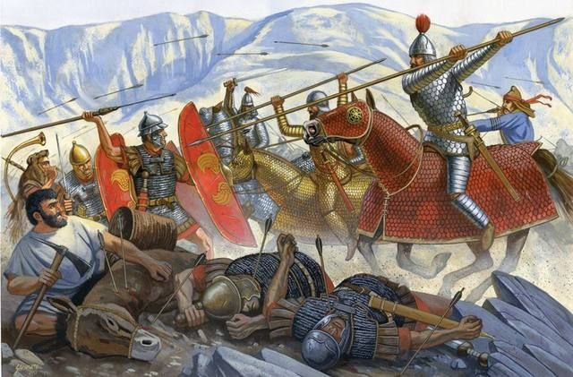 At the battle of Carrhae in 53 BC Parthian cataphracts attack what's left of a Roman force. - art by Johnny Schumate