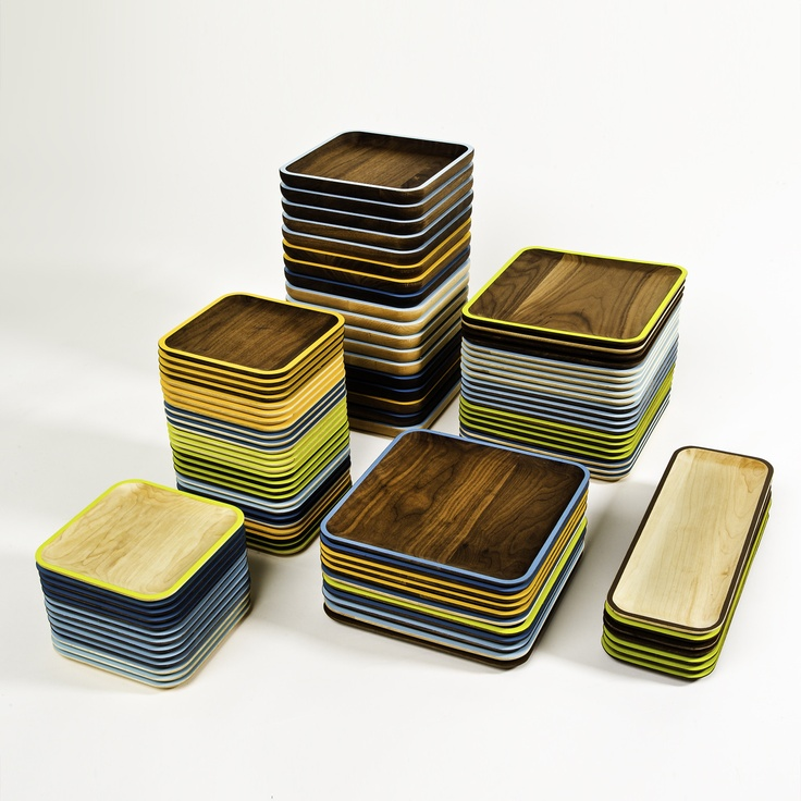 beautiful walnut trays with painted edges. I must have them all! $34Kitchens, Happy Hour, Café Trays, David Rasmussen, Wooden Trays, Wud Plates, Rasmussen Design, Wood Plates, Products