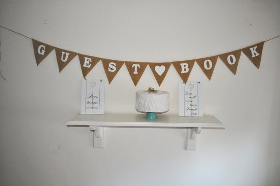 Guest Book Hessian Fabric Bunting Banner by inspiredcompany4u