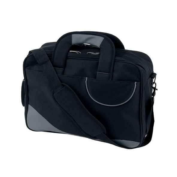 COD.MB059 Maletín Porta Notebook con 3 grandes divisiones con varios compartimentos. Manijas reforzadas con velcro. Correa regulable y desmontable con hombrera de goma. Deslizadores especiales. POLYESTER 600D.