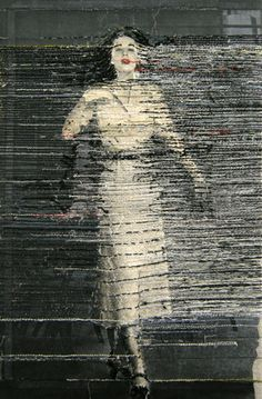 Hinke Schreuders works on paper #20 yarn and ink on paper on canvas | best stuff