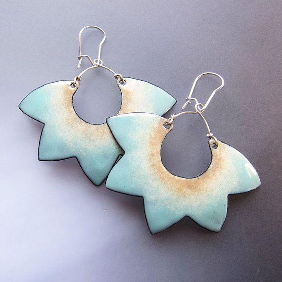 Aqua Lotus Flower Earrings, Hoop Dangle Earrings, Big Statement Earrings, Enamel Jewelry, Bohemian on Etsy, $44.00
