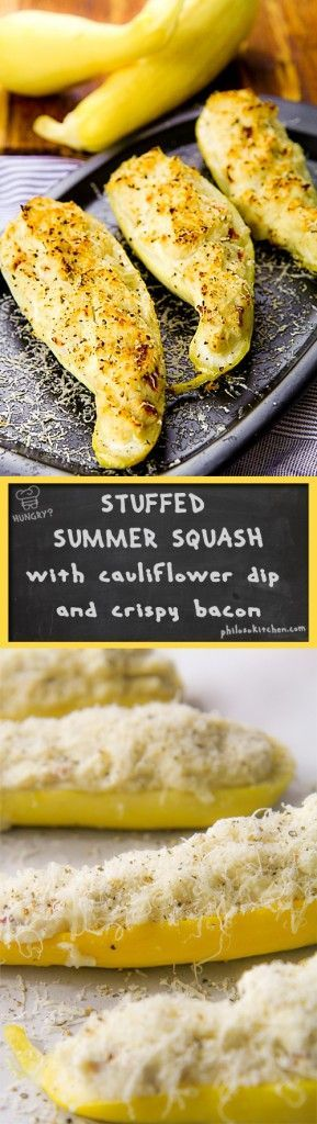 Stuffed yellow summer squash with cauliflower dip and crispy bacon - This recipe would emphasize the genuine taste of these wonderful vegetables. I decided to cook stuffed summer squash with a soft and delicate cauliflower dip. To add a crispy note and flavorful, I mixed the dip bacon flakes, Parmigiano Reggiano cheese and a sprinkle of black pepper. The result was surprising. A summer dish, tasty and rich in vitamins!