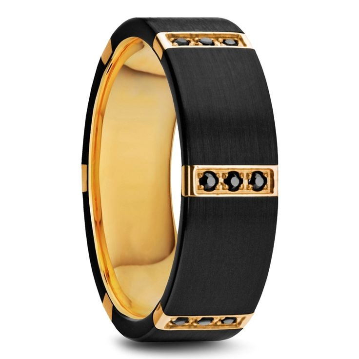 MURAMASA Flat Brushed Black Tungsten Ring with Gold Plated Inside and 6 Gold Plated Stainless Steel Bezels with Triple Black  Diamond Setting - 8mm #blackgoldring #blackdiamonds
