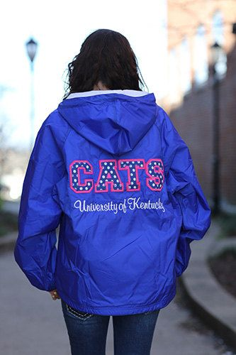 University of Kentucky Stitched Letter Rain Jacket - UK Ladies Rain Jacket